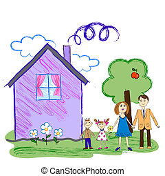 Kids sketch of happy family with house - Vector Crayon Kids...