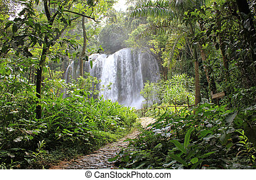 El Nicho waterfall - El Nicho is a series of waterfalls high...