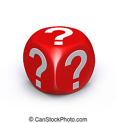 Red question mark dice on white background
