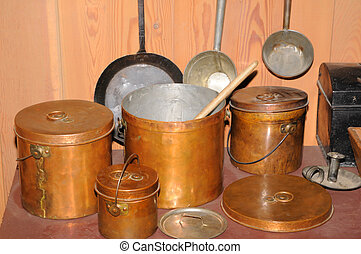 Copper Pots - Old copper pots used in the 1800\'s