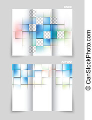 Tri-fold brochure design with squares colorful texture