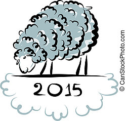 Sheep sketch, symbol of new year 2015. Vector illustration