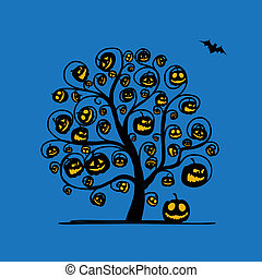 Halloween tree with pumpkins, sketch for your design