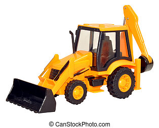 Yellow Toy Tractor Excavator - Yellow toy construction...