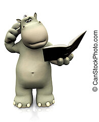Cartoon hippo reading book and looking confused. - A cartoon...