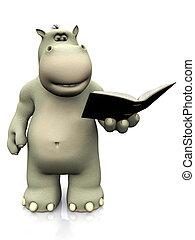 Cartoon hippo reading a book.