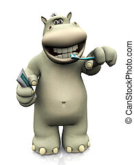 Cartoon hippo brushing his teeth. - A smiling cartoon hippo...