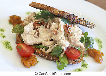 Tasty open sandwich on wholewheat bread - Tasty open...