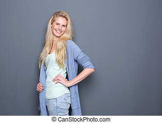 Portrait of a cheerful young blond woman