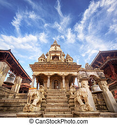 Temple in Bhaktapur - Temple of Durbar Square in Bhaktapur,...