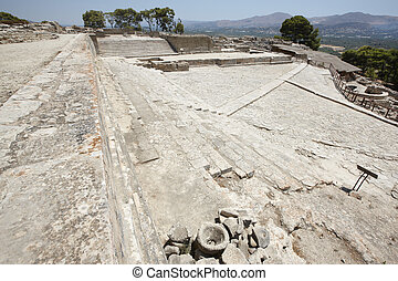 Phaestos minoan palatial city ruins in Crete. Greece....