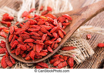 Dried Goji Berries - Portion of ried Goji Berries also known...