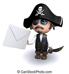 3d Pirate gets mail - 3d render of a pirate holding an...