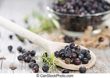 Juniper Berries - Portion of Juniper Berries on vintage...