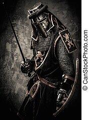 medieval, cavaleiro, espada, contra, pedra, parede