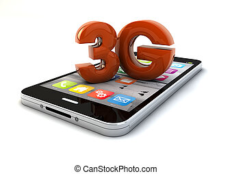 3g smartphone - render of a 3g smartphone ang text 3g