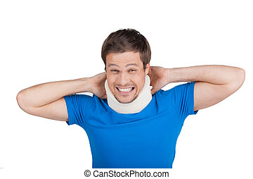 young man removing cervical collar handsome guy with neck...
