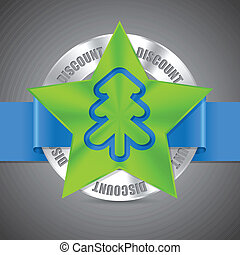Christmas discount badge design with christmas tree