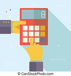 Retro Business Hands with Calculator Financial Settlements...