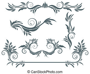 floral elements - illustration set of swirling flourishes...