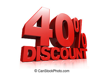 3D render red text 40 percent discount on white background...