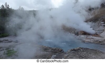Geothermal pool, Mud Volcano, Yellowstone National Park, WY,...