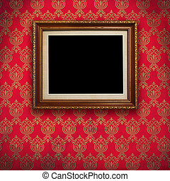 Gold frame with Red wallpaper background.