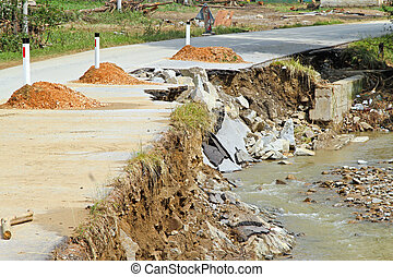 Danger erosion - Dangerous side of local road destroyed by...