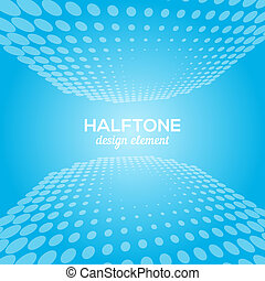 White and blue abstract perspective background with halftone