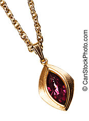 Gold and ruby pendant on chain - Golden and ruby pendant on...
