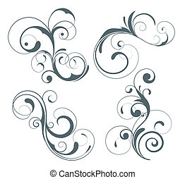 floral elements - illustration set of four swirling...