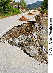 Landslide damage - Destroyed road landslide damaged in...