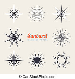 Vintage sunburst design elements collection with geometric...