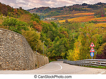 Road and autumnal trees in Piedmont, Italy. - Road and...