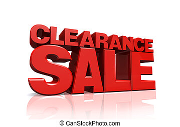 3D red text clearance sale on white background with...