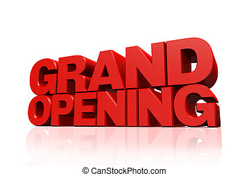 3D red text grand opening on white background with...