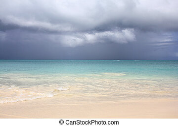Antigua beach - Caribbean sea, rainy clouds and Antigua...