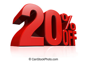 3D render red text 20 percent off. - 3D render red text 20...