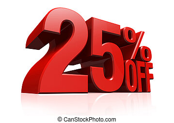 3D render red text 25 percent off - 3D render red text 25...