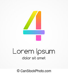 Logo number 4 company vector design template. - Modern color...