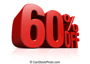 3D render red text 60 percent off - 3D render red text 60...