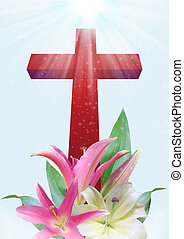 Christian cross and lily flower - Christian cross and...