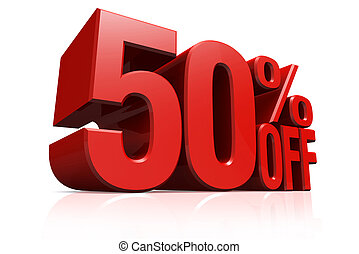 3D render red text 50 percent off - 3D render red text 50...