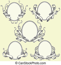 Ribbon frame and border ornaments set 04. The objects can be...