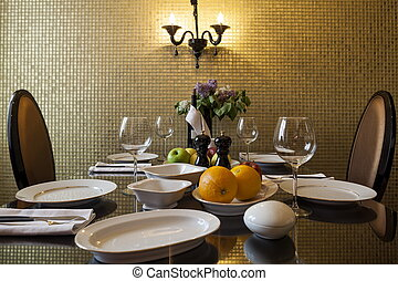 Dinner Setting - table setting awaits the guests