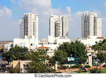 New residential district of high white buildings - New...