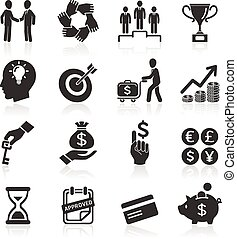 Business icons set - Business icons, management and human...