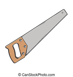 Handsaw isolated on a white background. Color line art....