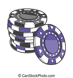 Stacks of gambling chips - Black and violet stacks of...