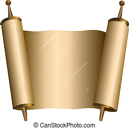 Traditional Jewish Torah Scroll - Vector illustration of an...